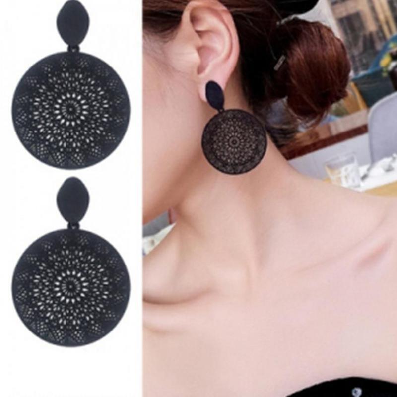 Personality Black Ring Temperament Hollow-out Pattern Pendant Earrings In 2019 Earrings For Women