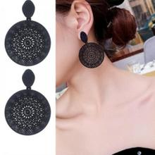 Wholesale Of New Korean Personality Black Ring Temperament Hollow-out Pattern Pendant Earrings In 2019 Earrings For Women