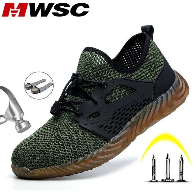 Mwsc s3 sapatos masculinos para construção, botas de segurança do trabalho para homens com bico de aço, seguro indestrutível e anti esmagamento tênis para mulheres