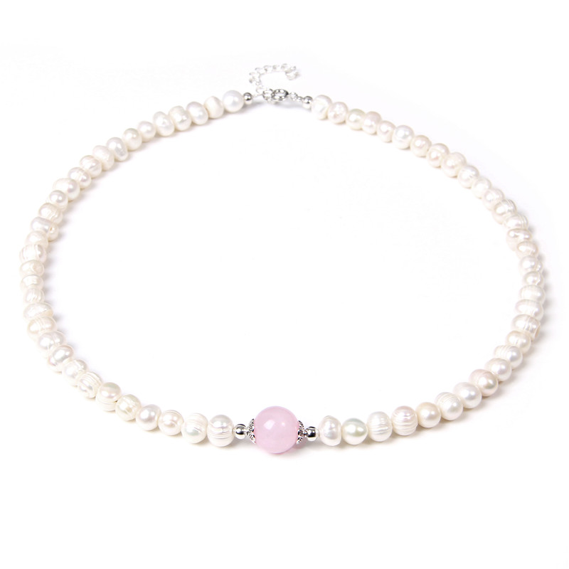 Pink Crystal Natural Freshwater Baroque Pearls Beaded Necklace Rose Quartzs Bead Shell Choker for Women Jewelry Wedding Gifts