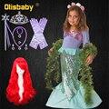 Halloween Kleine Meerjungfrau Mädchen Prinzessin Kostüm Weihnachten Mädchen Party Ariel Kleid Kinder Fancy Pailletten Kleid Meerjungfrau Perücke Kinder