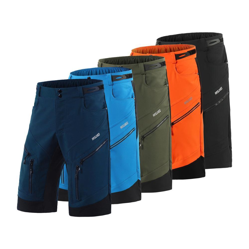 Купить с кэшбэком ARSUXEO 2019 Men Cycling Shorts Loose Fit Bike Shorts Outdoor Sport Shorts MTB Mountain Bicycle Short Pants Water Resistant 1903