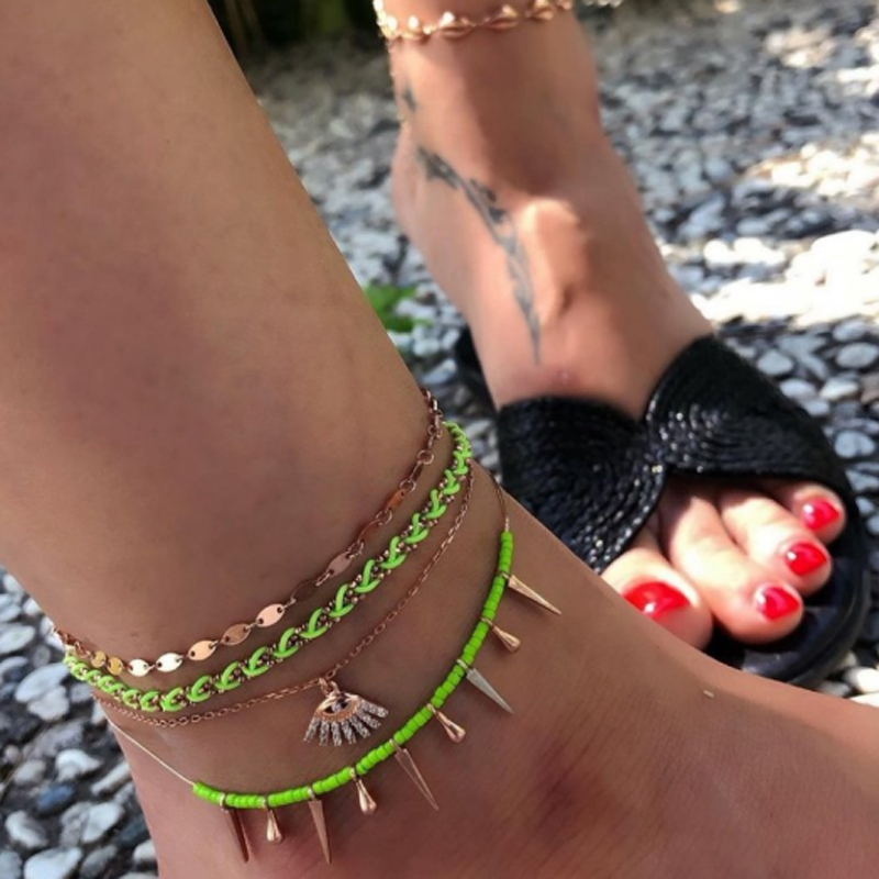 Tocona Punk Snake eye Anklet Shining Rhinestone Fine Gold Anklet Set for Women Adjustable Geometric Foot Chain 8553