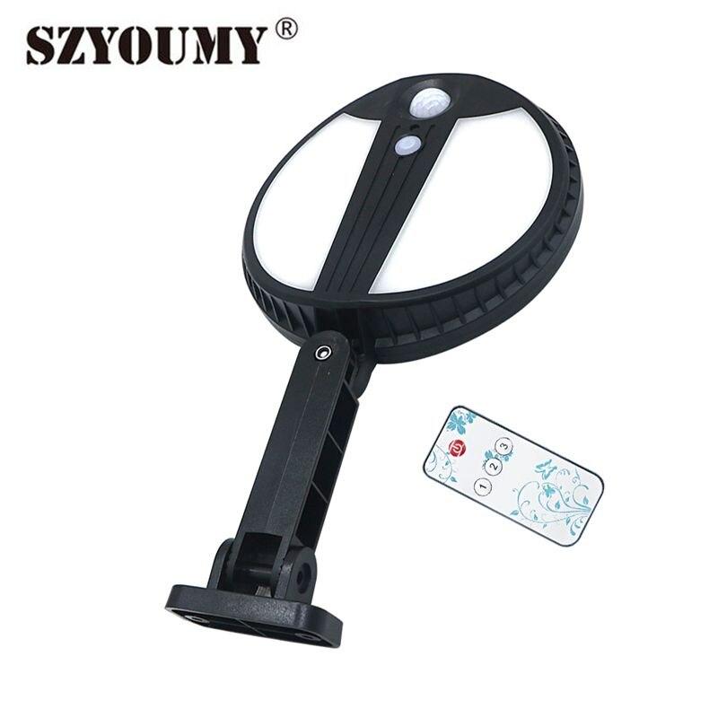 szyoumy 70 led luz de rua solar com sensor de movimento controle remoto ao ar livre