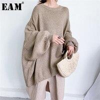 [EAM] Übergroßen Grau Stricken Pullover Lose Fit Rundhals Langarm Frauen Pullover Neue Mode Herbst Winter 2021 1Y190