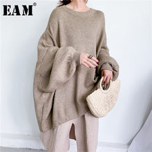 [EAM] chandail à tricoter gris surdimensionné coupe ample col rond manches longues femmes pulls nouvelle mode automne hiver 2021 1Y190