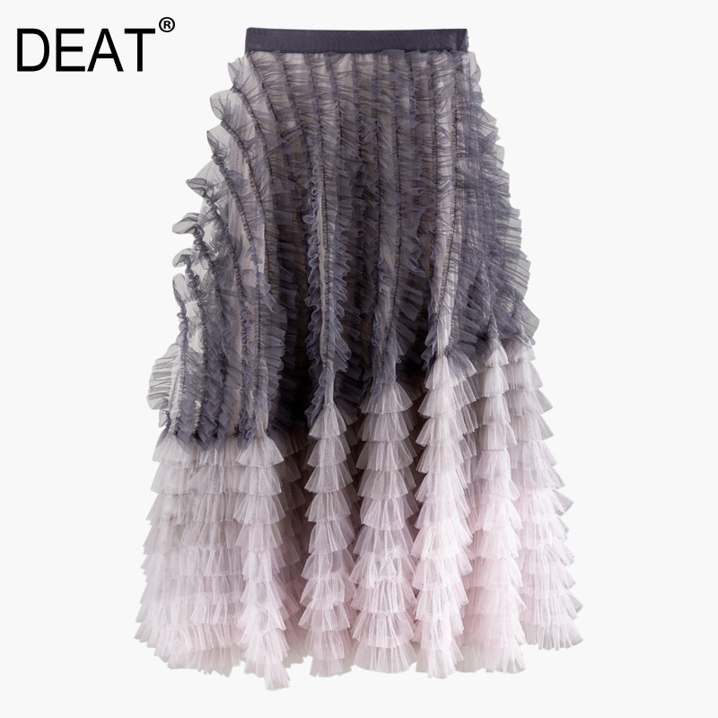 DEAT 2020 New Spring High Elastic Waist Gradient Color Big Swing Skirt Women Vintage Loose Popular Mesh Aball Gown Skirt PD710
