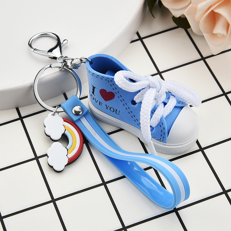 Mini Canvas Shoes Rainbow Key chainI LOVE YOU Cute Small Sports Shoes PVC Striped Leather Rope Key Ring Men and Women Bag Charm in Key Chains from Jewelry Accessories