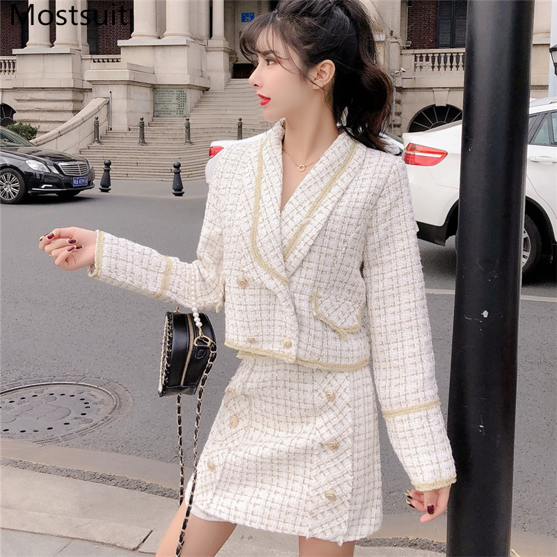 2020 Spring Vintage Tweed 2 Piece Skirt Suits Women Short Coat + Double Breasted High Waist Mini Skirt Suits Fashion Ladies Sets