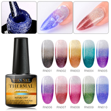 Rainbow Thermal Color Changing Gel Nail Polish Glitter Top Coat Art Lacquer Temperature Change UV  Varnish