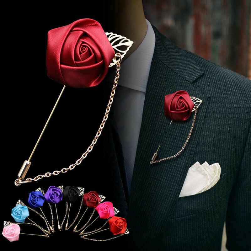 女性男性のスーツ金箔花のブローチをバララペルピンキャンバス生地リボンネクタイピン襟の針とチェーン