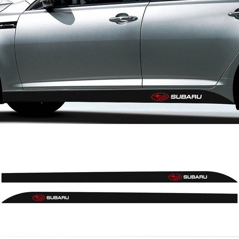Автомобильные наклейки из углеродного волокна с боковой талией, 2 шт., авто наклейки для Subaru Impreza WRX STI клаксон Outback Legacy Forester Tribeca XV BRZ