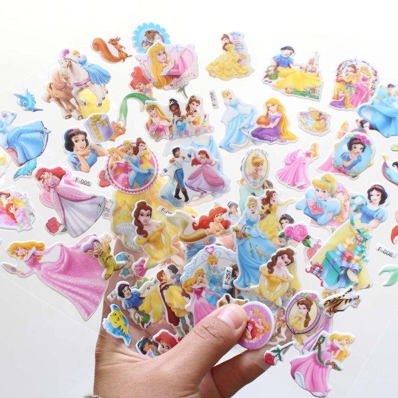 12 Sheets/set Disney Snow White Mermaid Princess Scrapbooking For Kids Rooms Decor Diary Notebook Decoration Toy 3D Sticker