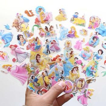 12 arkuszy zestaw Disney śnieg biała syrenka księżniczka scrapbooking na dekoracje do pokoju dziecięcego pamiętnik dekoracja zabawka 3D naklejka tanie i dobre opinie 7-17cm 6-12cm snow White 0 05g OPP bag