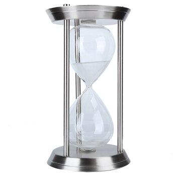 Hourglass Timer Sand Clock 60 Minutes Sandglass Ornament Metal Glass Craft Gift Study Decor