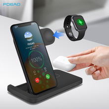 15W 3 in 1 Qi Wireless Charger Dock Station Fast Charging Stand Pad For iPhone 12 11 XS XR X 8 Apple Watch 6 5 4 3 2 AirPods Pro