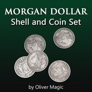 Morgan Dollar Shell and Coin Set (5 монет + 1 головная оболочка + 1 Хвостовая оболочка) от Оливера Волшебная монета Волшебные трюки иллюзии крупным планом вес...