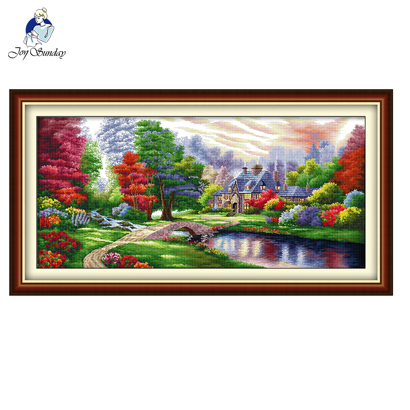 The Ambilight Landscape Painting Home Decor Count Print On Canva Cross Stitch Kit DIY DMC 11CT 14CT Embroidery Needlework Set
