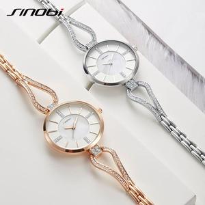 Image 4 - SINOBI relojes de lujo para mujer, pulsera de diamante, elegante, de cuarzo, femenino