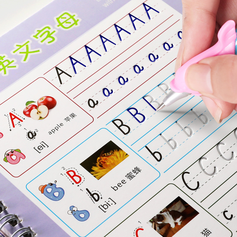 Reusable English Alphabet Copybook Drawing Toys Hand Writing Groove Auto Fades Educational Toys For Children Kid School Supplise