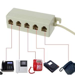 Plug-Adapter Telephone-Phone Splitter Jack 6P4C 5-Way Outlet Modular-Line Helpful