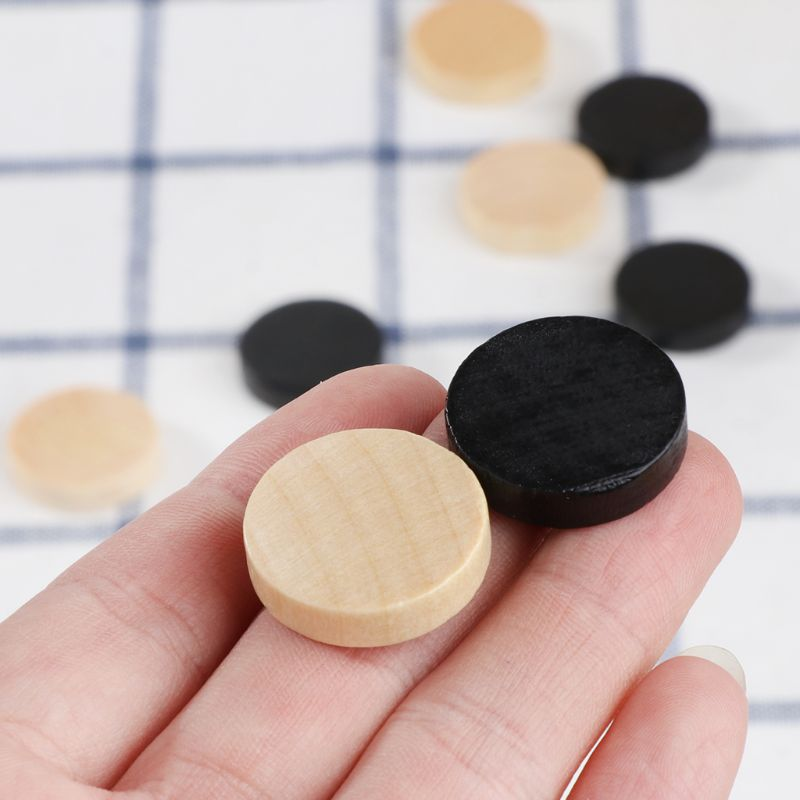 30pcs Wooden Draughts Checkers Backgammon Chess Pieces For Kid Board Game 2 Dice PXPF