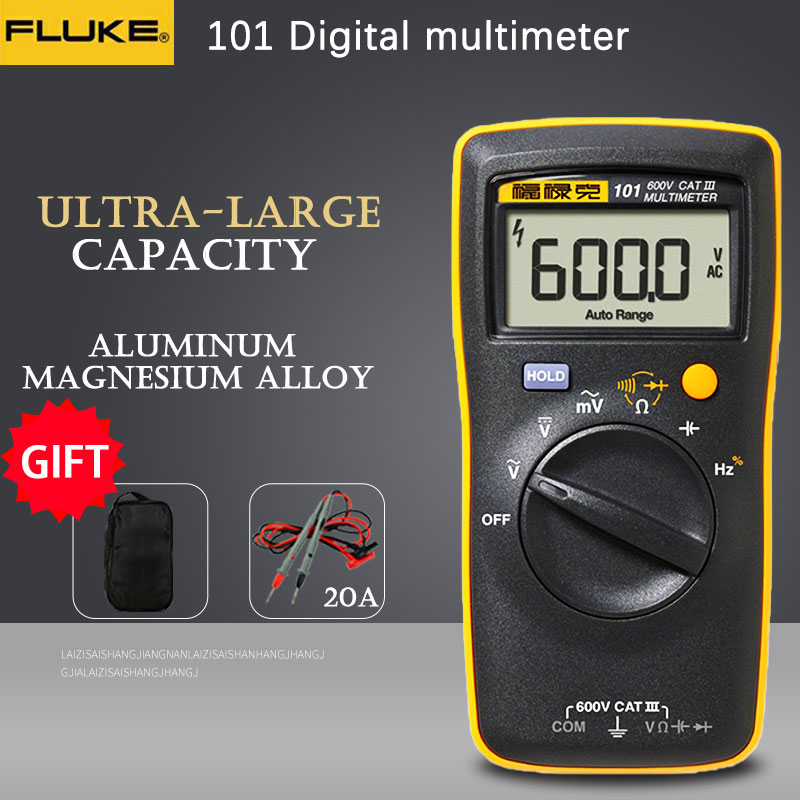 Fluke 101 Mini Digital Multimeter auto range for AC DC Voltage Resistance Capacitance Frequency duty cycle tester