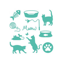 Eastshape Meowy Christmas Metal Cutting Dies Cats Fish for Craft Scrapbooking DieCut Embossing Album Stencil Template