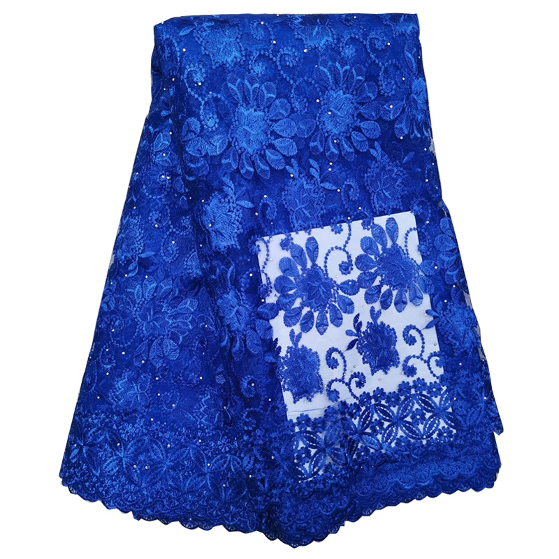 2019 Latest Royal Blue African Lace Fabric Beaded High Quality French Nigerian Tulle Lace Fabric For Woman Dress