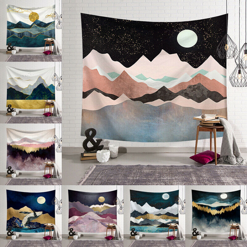 Color Big Moon Snow Mountain Sky Night Scenery Hanging Wall Tapestry Hippie Retro Yoga Beach Towel Home Decor