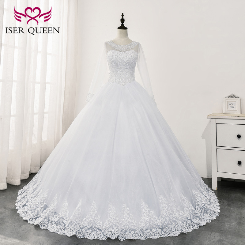 See Through Long Sleeves Africa Wedding Dress 2020 New Arrival Heavy Beading Elegant Bride Dresses Ball Gown WX0166