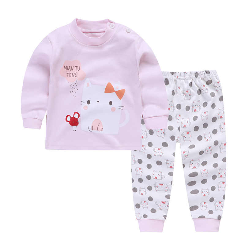 Baby Boys Autumn Winter Printed Long Sleeve Leisure 2pcs Cotton Baby Girls Caotton Clothes Suit