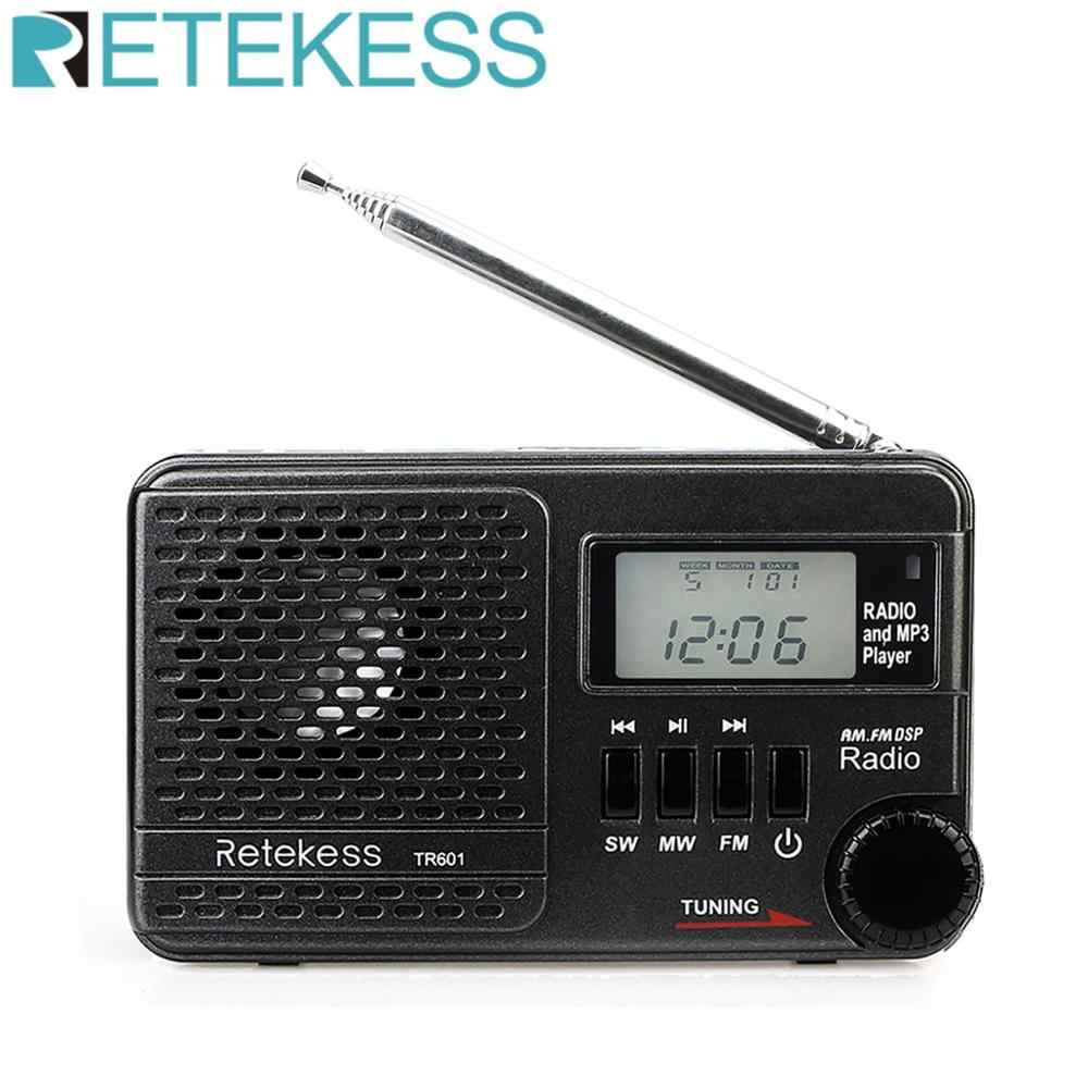 Retekess tr601 rádio digital despertador dsp/fm/am/sw receptor de rádio mp3 player 9 k/10 k tuning micro cartão sd e entrada de áudio usb