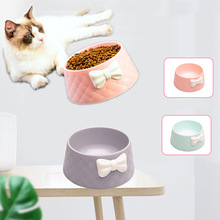 Dog Feeder Bowl Bow Tie Pet Single Bowls Cat Feeding Dish Puppy Drinking Water Bowl Pets Food Tableware Anti Slip Water Dishes dog double bowl puppy food water feeder cute stainless steel pets drinking dish feeder pets supplies feeding dishes dogs bowl