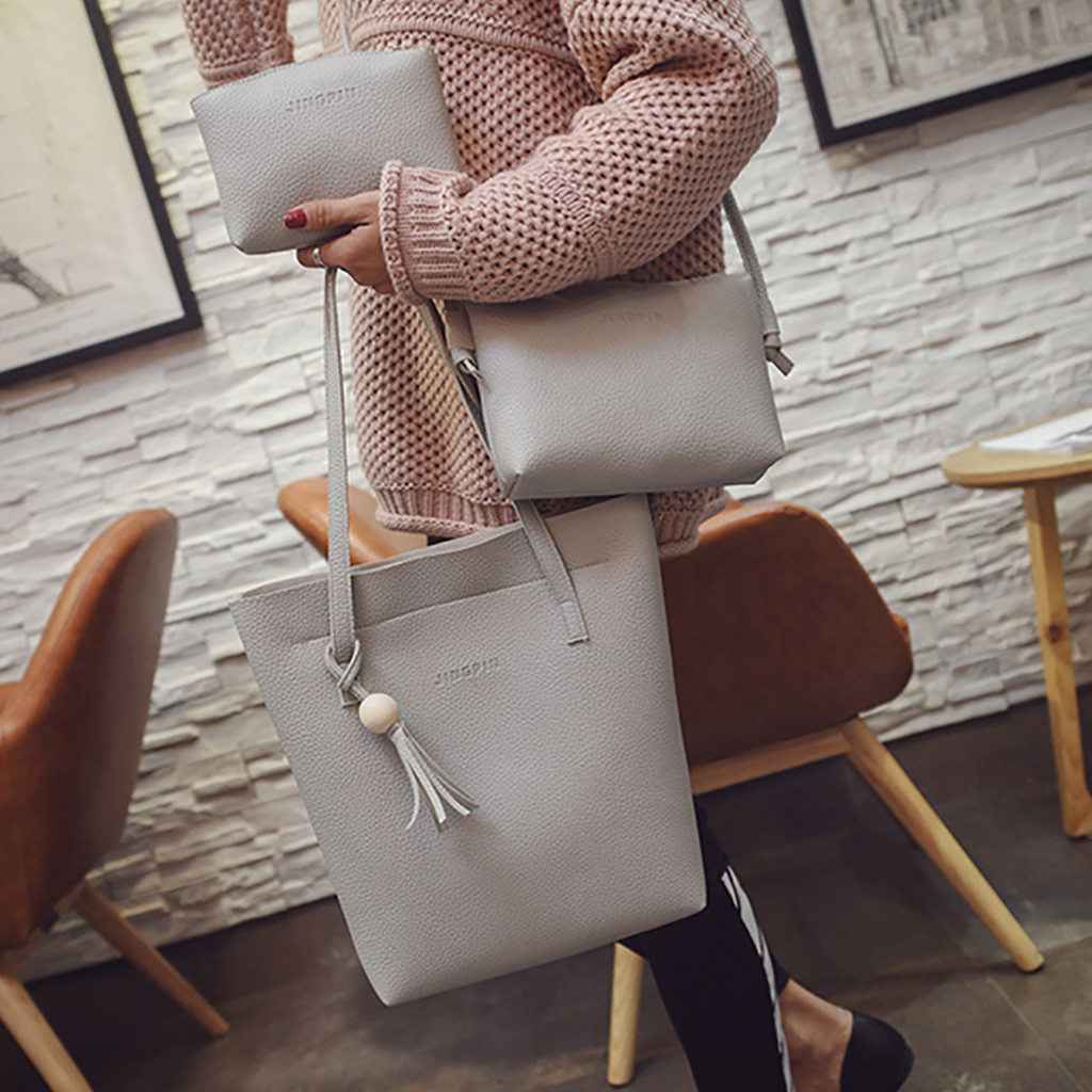 3Pcs/Sets Shoulder Bag Fashion Durable Women Tassel Leather Solid Shoulder Bag Crossbody Bag Clutch Wallet Retro Bag Borsa Donna