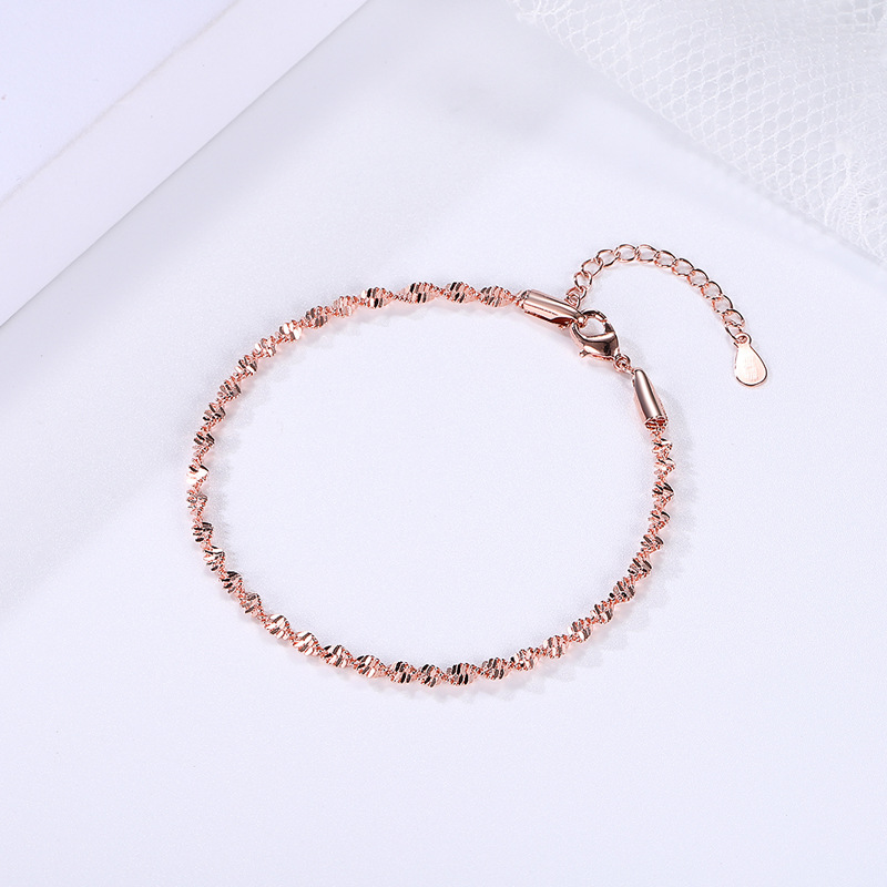 Bracelet For Women Smooth Exquisite Trendy Spiral Wave Twisted Grain Rose Gold Silver Color Fashion Jewelry Gift KBH064 4
