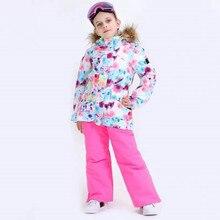 Детские лыжные костюмы для девочек; Лыжная куртка со штанами; водонепроницаемая ветрозащитная куртка для сноуборда и брюки; зимняя одежда для девочек