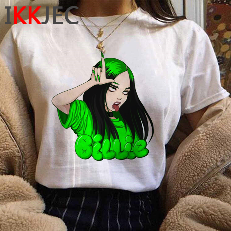 Billie Eilish Funny Cartoon T Shirt Men/women Unisex Hip Hop Bad Guy T-shirt Aesthetic Graphic Tshirt Streetwear Top Tees Male