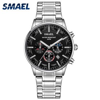 Quartz Watches Men Stainless Steel Butterfly Buckle SMAEL Watch Mens Watches 9096 Waterproof Quartz Watches фото