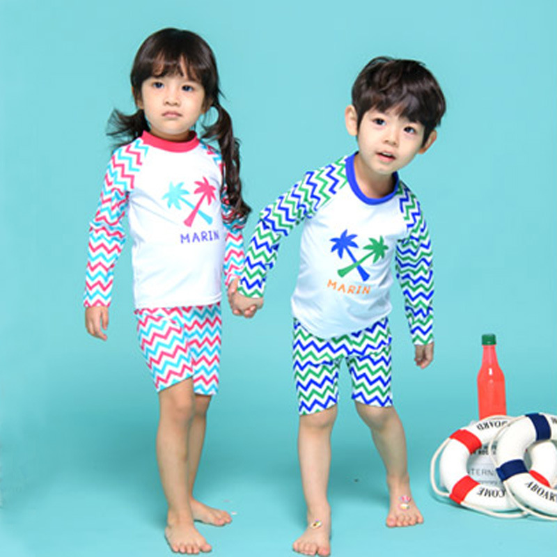 KID'S Swimwear GIRL'S Big Boy Split Type Sun-resistant Long Sleeve Diving Suit Quick-Dry Male Baby Infants Kids Swimwear