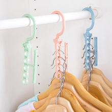 1pc Multilayer Windproof Clothes Hanger 360 Degree Organizer Fixed Holder Storage Racks Buckle Anti-Slip Home 5 Circle Antislip