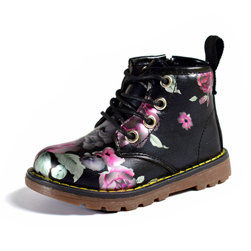 DIMI 2019 Autumn Girls Fashion Flower PU Leather Martin Boots Irregular Floral Casual Non-slip Little Girl Baby Boots Shoes