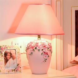 Styl europejski żywica wazon ręcznie malowany stół lampa do sypialni nocna salon romantyczna dekoracja ślubna led stand lampka na biurko w Lampy stołowe LED od Lampy i oświetlenie na