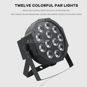 12x12W led Par lights RGBWA UV 6in1 flat par led dmx512 control Can Par 64 led spotlight dj projector wash lighting stage light tiptop wireless battery powered portable uplights 6 6w 6in1 led par light rgbwa uv slim par can with irc for wedding decoration