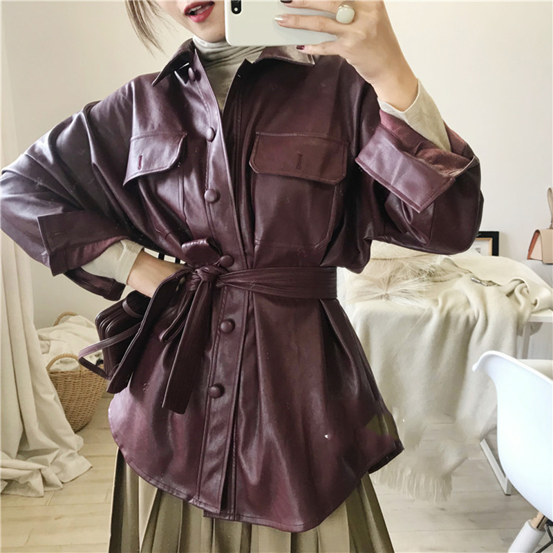 Vintage Women Faux   Leather   Loose Jacket Casual Ladies PU Autumn Long   Leather   Coat Female Trench   Leather   Coat Winter for OL