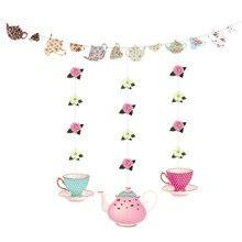1 conjunto de 4 pçs decorações de chá chá bule banner decoração para o aniversário chá de panela chuveiro do bebê fontes de festa de casamento a50