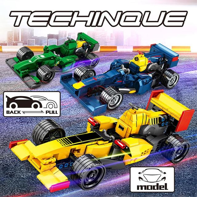 City Creator Mechanical Equation Racing Car F1 Sports Vehicle Bricks Technic MOC DIY Model Building Blocks Toys For Children