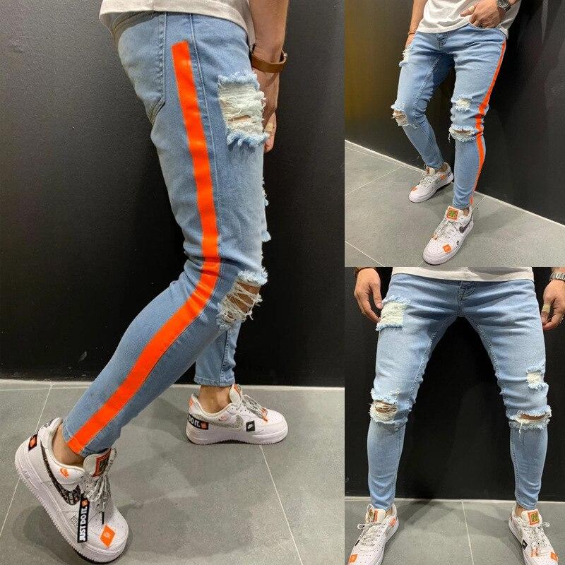 Mens Side Stripe Skinny Pencil Jeans Ripped Destroyed Denim Pants Streetwear Slim Blue Jeans Man Stretch Jeansy Plus Size S-3XL