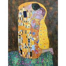 Поцелуй Густава Климта холст искусство картины маслом Репродукция ручная роспись художественный портрет Женщины и любовь изображение для стены