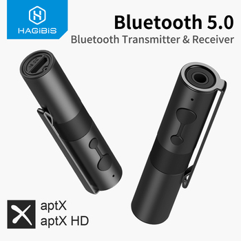 Hagibis Bluetooth 5.0 Transmitter Receiver 2-in-1 3.5mm Jack Audio Aptx Wireless Adapter AUX for TV Headphones PC Car Nintendo
